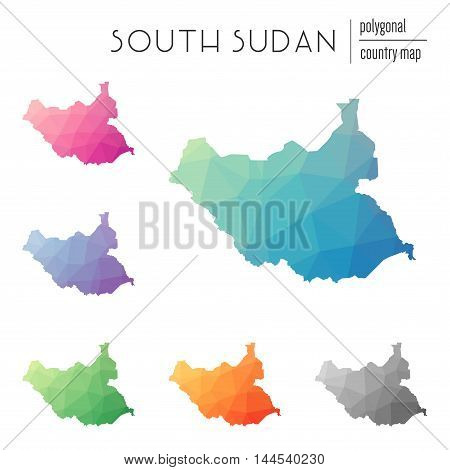 Set Of Vector Polygonal South Sudan Maps. Bright Gradient Map Of Country In Low Poly Style. Multicol