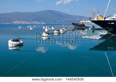 yachts in the marina Porto Montenegro in Montenegro