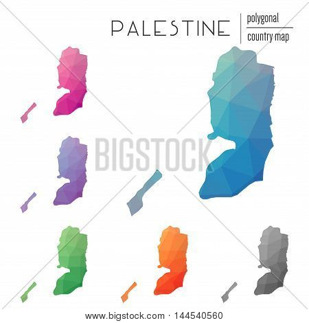 Set Of Vector Polygonal Palestine Maps. Bright Gradient Map Of Country In Low Poly Style. Multicolor