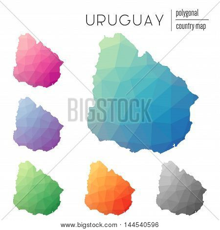 Set Of Vector Polygonal Uruguay Maps. Bright Gradient Map Of Country In Low Poly Style. Multicolored
