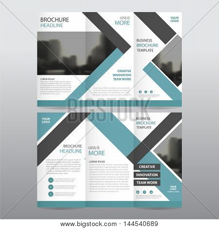 Blue black square business trifold Leaflet Brochure Flyer report template vector minimal flat design set abstract three fold presentation layout templates a4 size
