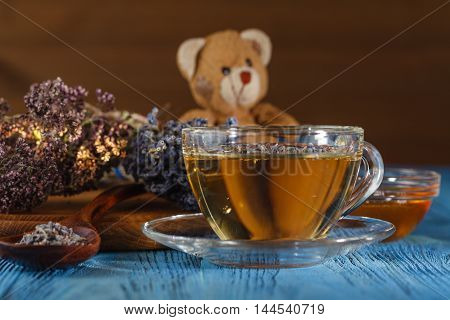 Healthy Lavender Herbal Tea And Dry Lavender In Jar