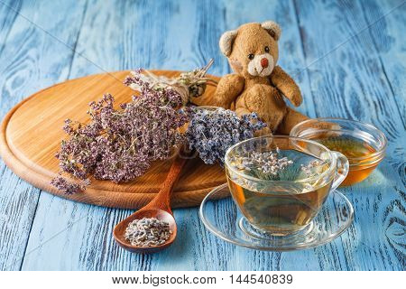 Herbal Tea with Lavender on wooden table