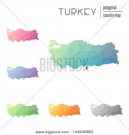Set Of Vector Polygonal Turkey Maps. Bright Gradient Map Of Country In Low Poly Style. Multicolored