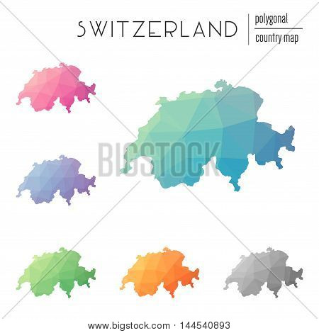 Set Of Vector Polygonal Switzerland Maps. Bright Gradient Map Of Country In Low Poly Style. Multicol