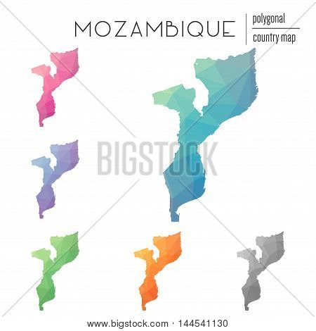Set Of Vector Polygonal Mozambique Maps. Bright Gradient Map Of Country In Low Poly Style. Multicolo