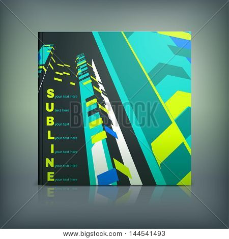 Vector business brochure cover template. Modern background for poster, print, flyer, book, booklet, brochure and leaflet design. Editable graphic collection in blue, yellow, green and black colors