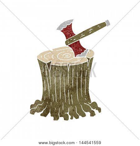 freehand retro cartoon axe in tree stump