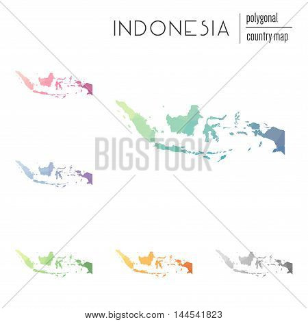 Set Of Vector Polygonal Indonesia Maps. Bright Gradient Map Of Country In Low Poly Style. Multicolor
