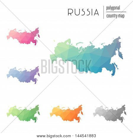 Set Of Vector Polygonal Russian Federation Maps. Bright Gradient Map Of Country In Low Poly Style. M