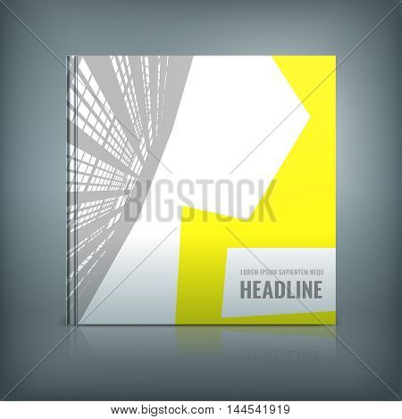 Vector business brochure cover template. Modern background for poster, print, flyer, book, booklet, brochure and leaflet design. Editable graphic collection in grey, yellow, white and black colors