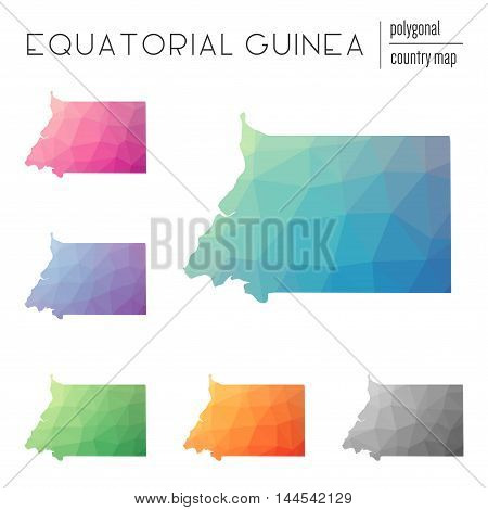 Set Of Vector Polygonal Equatorial Guinea Maps. Bright Gradient Map Of Country In Low Poly Style. Mu