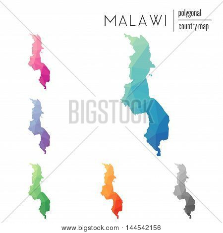 Set Of Vector Polygonal Malawi Maps. Bright Gradient Map Of Country In Low Poly Style. Multicolored