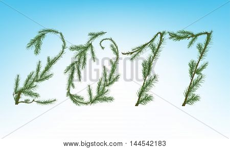 Vector illustration of christmas tree branches in a shape of 2017 on a light background. Beautiful decorative backdrop for New Year postcards, posters, prints and invitations.