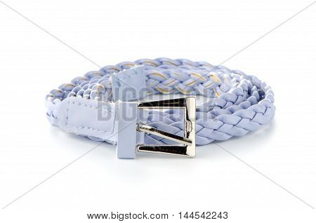 Closeup of leather belt isolated on white background.