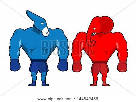 Elephant And Donkey Boxer. Democrats Against Republicans. Red Strong Animal With Boxing Gloves. Symb