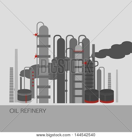 Oil refinery or chemical plant image. Vector illustration im grey, red and light grey colors on a light grey background. Oil patch symbol