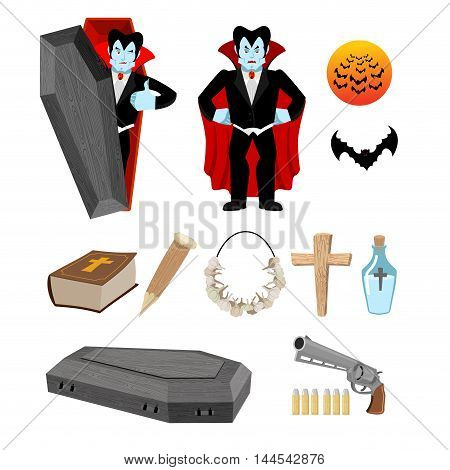 Dracula Set. Vampire And Bats. Weapon Against Vampires. Garlic And Silver Bullets. Bible And Holy Wa