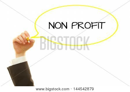 Woman hand writing NON PROFIT word with a marker isolated on white