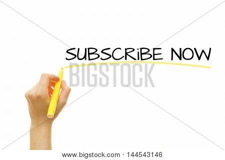 Woman hand writing Subscribe Now on a transparent wipe board. Business concept.