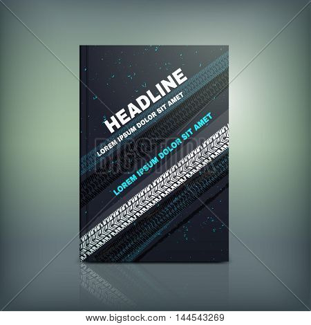 Vector tyre brochure cover template. Modern background for poster, print, flyer, book, booklet, brochure and leaflet design. Editable graphic collection in white, blue and black colors