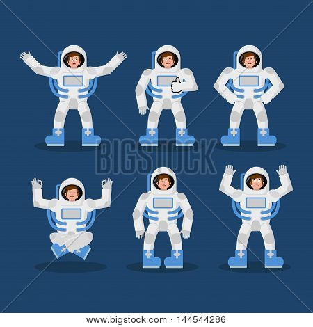 Astronaut Set Of Movements. Spaceman Set Of Poses. Cosmonaut Expression Of Emotion. Cheerful And Sur