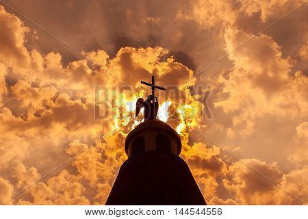 cross against the sky. A fantastic spectacle.