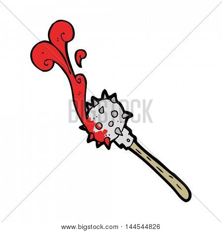 freehand drawn cartoon bloody medieval mace