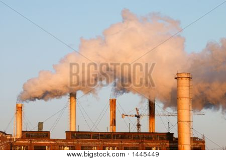 Factory With Smokestacks