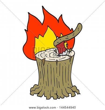 freehand drawn cartoon axe in a flaming tree stump