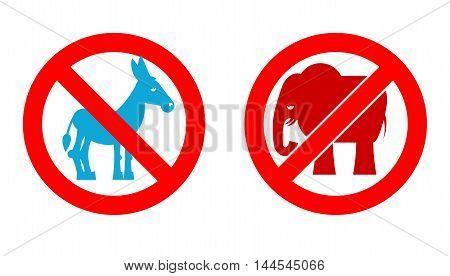 Ban Elephant. Stop Donkey. Prohibited Symbols Usa Political Parties. Crossed-out Animals. Emblem Aga