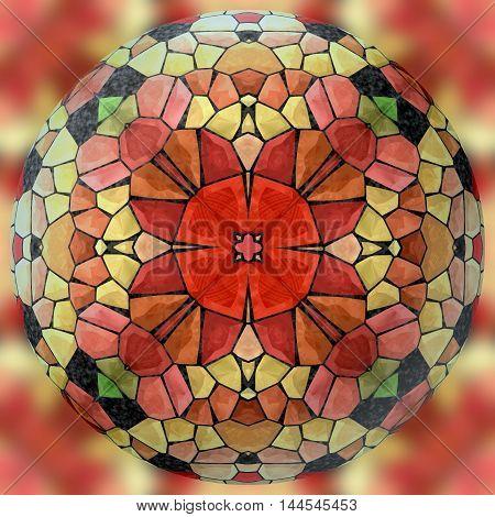 Abstract decorative sphere, ball - kaleidoscopic 3D pattern
