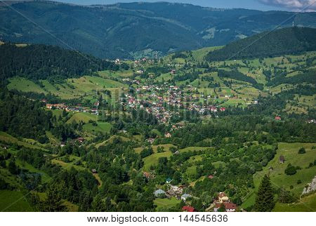 Aerial view from the road in Carpathian Mountains in Transylvania