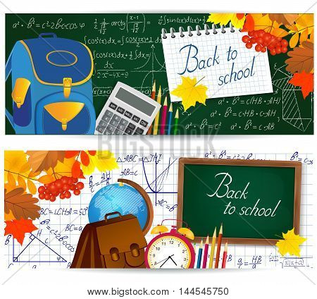 Horizontal banners with school supplies and mathematical formulas. vector