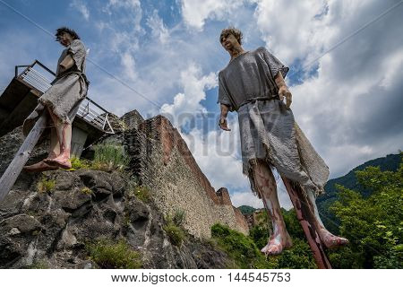 Impalement scene in front of Ruined Poenari Castle on Mount Cetatea in Romania