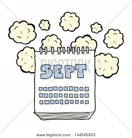 freehand drawn cartoon calendar showing month of September