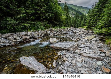 creek next to Transfagarasan Road in southern section of Carpathian Mountains in Romania
