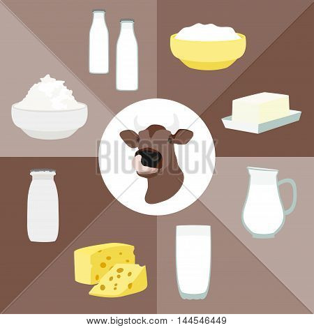 Milk and farm products. Vector illustration, EPS 10