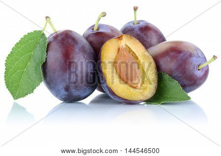 Plums Plum Prunes Prune Slice Fresh Fruits Fruit Isolated On White