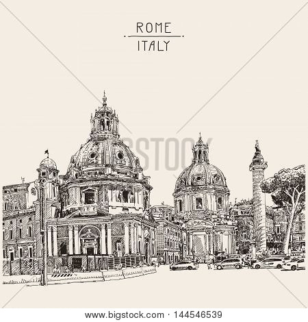 original digital drawing of Rome Italy cityscape with lettering inscription for your travel card design, basilica sketch, vector illustration