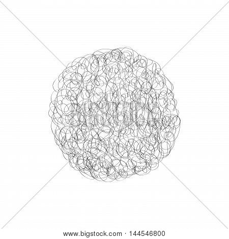 Hand drawn cloud. Chaotic line circle shadow. Concept of stressful confused humiliation metaphor hopeless. isolated on white background.