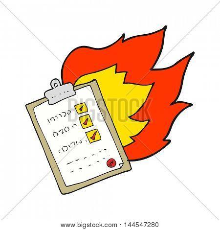 freehand drawn cartoon checklist burning
