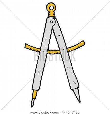 freehand drawn cartoon compass