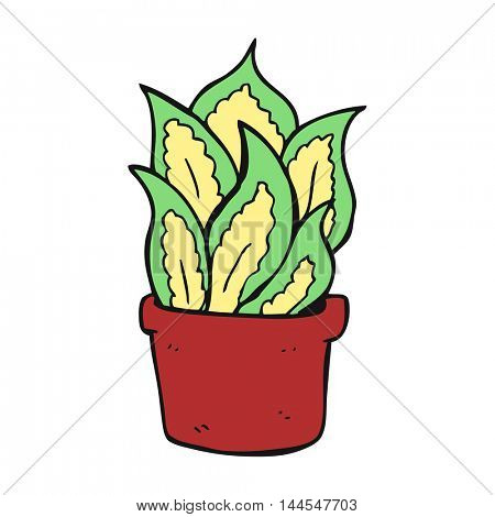 freehand drawn cartoon house plant