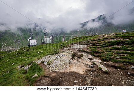 Weather station near Balea Lake next to Transfagarasan Road in southern section of Carpathian Mountains in Romania