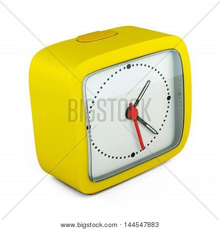 Square Alarm Clock On White Background. 3D Render Image
