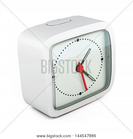 Square Alarm Clock On White Background. 3D Rendering