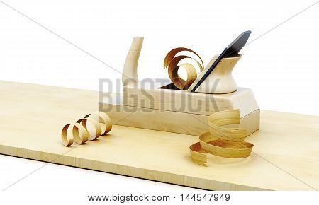 Wooden Plane Isolated On A White Background. 3D Rendering