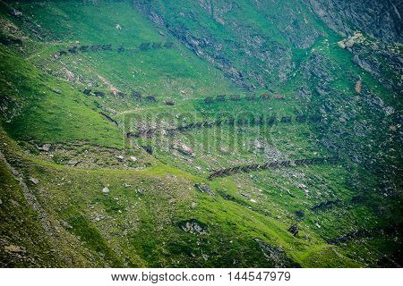 Snow fences on the next to Transfagarasan Road in southern section of Carpathian Mountains in Romania