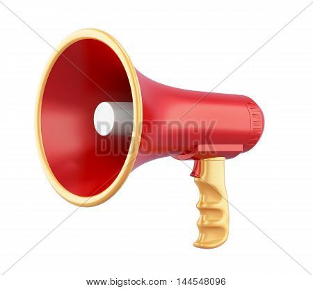 Portable Megaphone Isolated On White Background. 3D Rendering